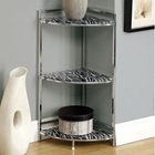 Prominence 3-Tier Corner Display Shelf - Zebra Patterned Glass