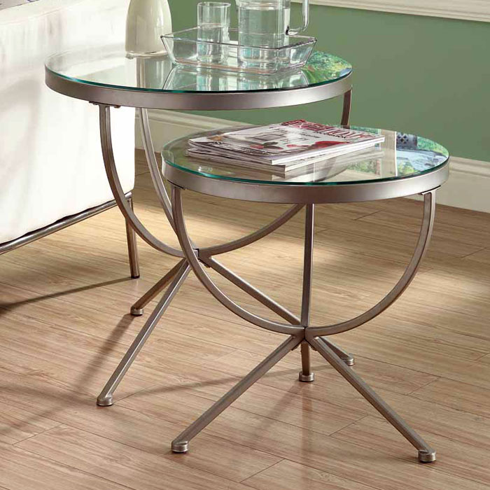 Trance 2 Piece Nesting Tables Set - Satin Silver, Round Clear Glass - MNRH-I-3322