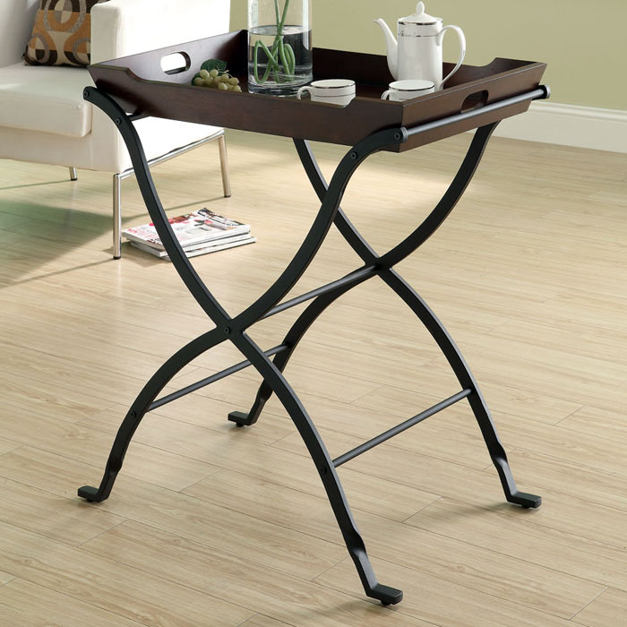 Daedalus Serving Tray Table - Cherry, Charcoal Black
