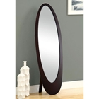 Canzone Contemporary Floor Mirror - Oval, Cappuccino Finish