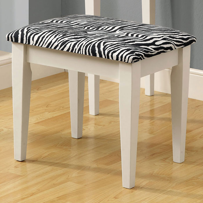 Immaculate Vanity Table and Stool - White, Zebra Patterned Seat - MNRH-I-3390