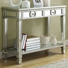 Alcott Mirror Sofa Table - Silver Finish, 2 Drawers