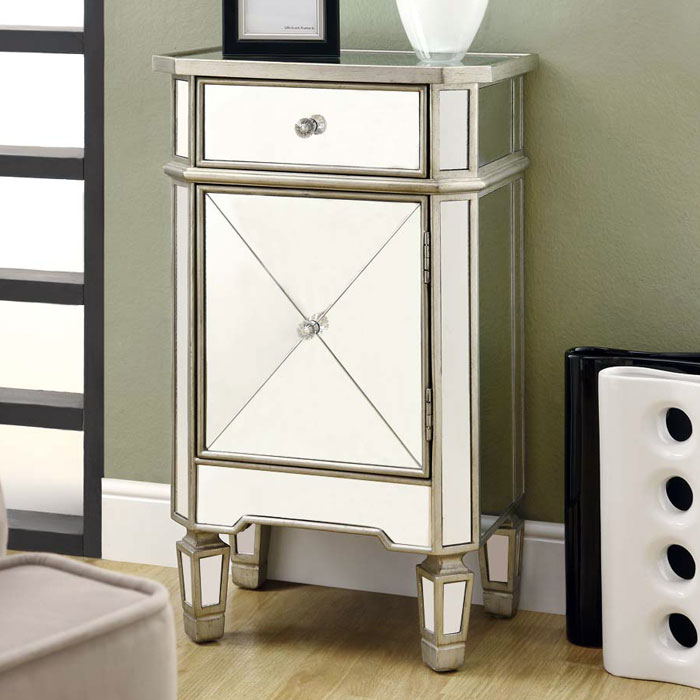 Nightingale Mirror Accent Table - Silver Finish, 1 Drawer, Cabinet