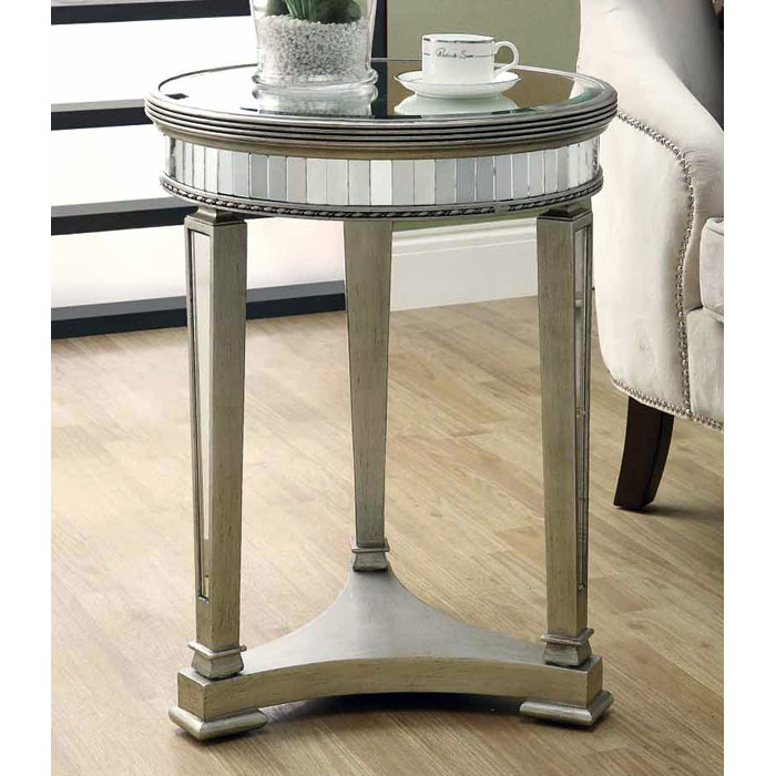 Feist Mirror End Table - Silver Finish, Round Top