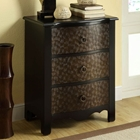Friedrich Tall Nightstand - Black & Gold Finish, Spiral Accents