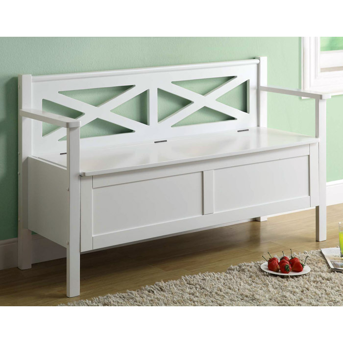 Bardeen 50'' Wood Storage Bench - White, Cottage Style