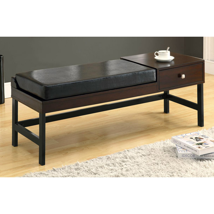 Averill 48'' Backless Bench - Dark Brown Cushion, Side Drawer