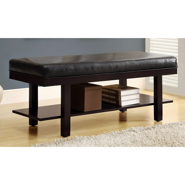 Ansley Wood Backless Bench - Cappuccino, Dark Brown Cushion