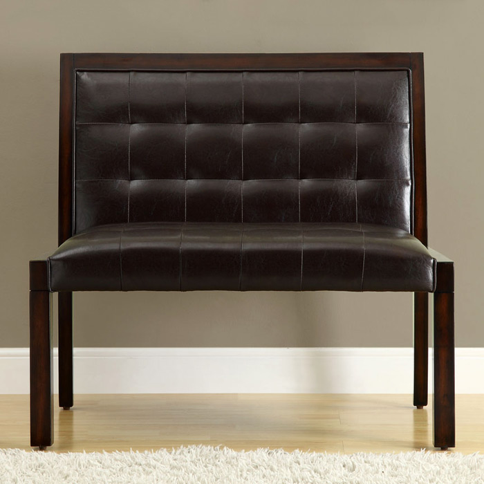 Corliss Bench - Cappuccino, Tufted, Dark Brown Upholstery