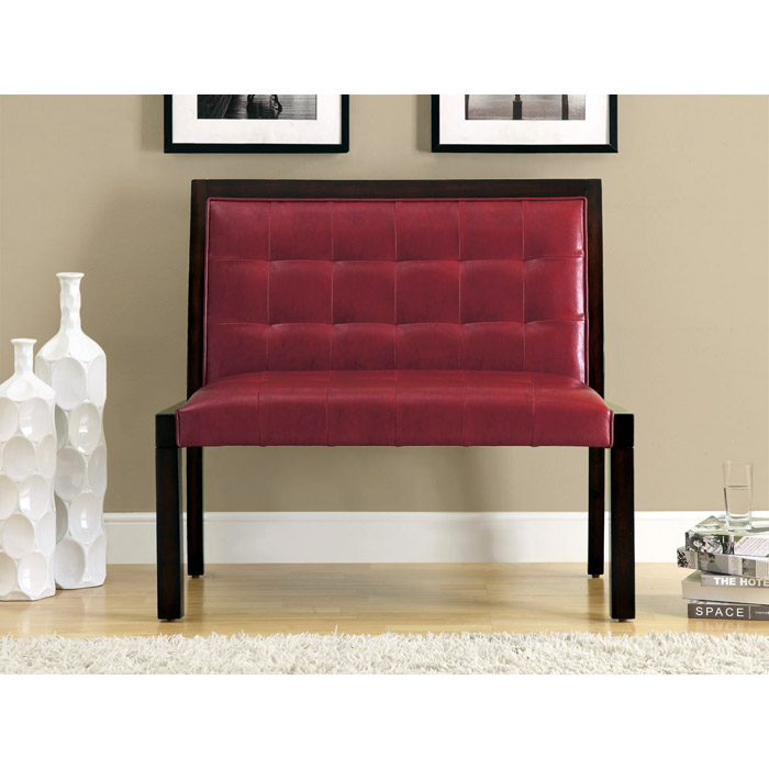 Corliss Bench - Cappuccino, Tufted, Burgundy Upholstery - MNRH-I-4532