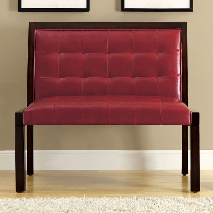 Corliss Bench - Cappuccino, Tufted, Burgundy Upholstery