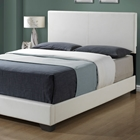 Esmeralda Queen Panel Bed - White Upholstery, Tapered Feet