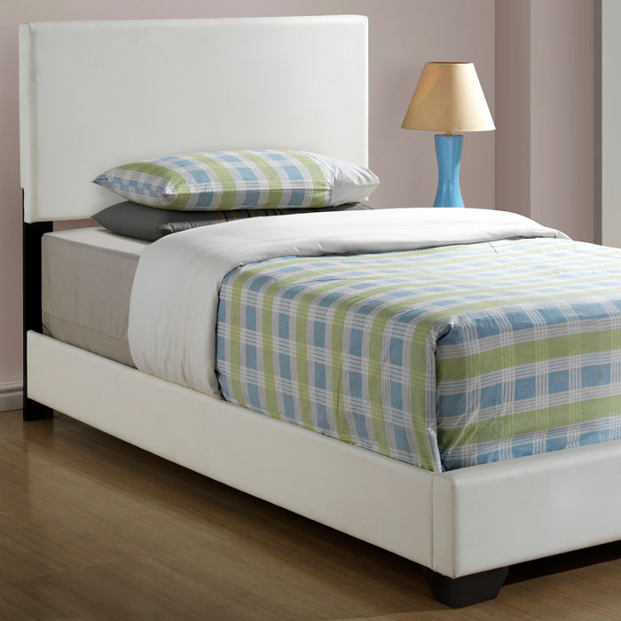 Esmeralda Twin Size Panel Bed - White Upholstery, Tapered Feet - MNRH-I-5907T