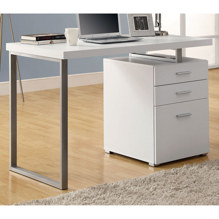 Friedrich Modern Pedestal Desk - Metal Sled Leg, White