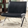 Euler Contemporary Lounge Chair - Chrome Legs, Black