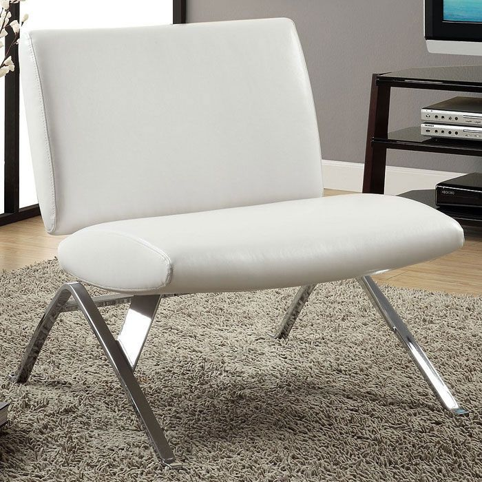 Euler Contemporary Lounge Chair - Chrome Legs, White