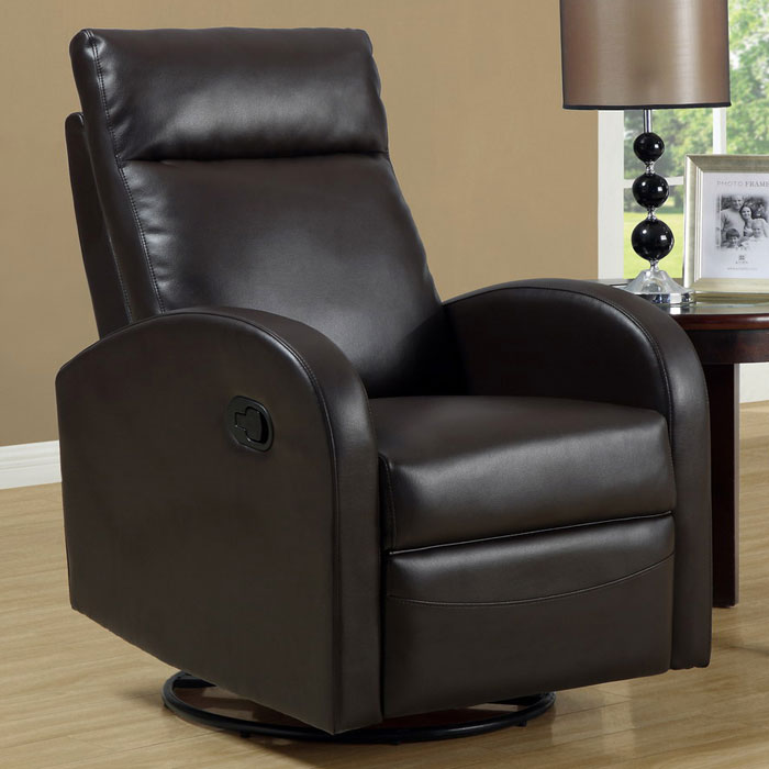 Bernoulli Leather Rocker Recliner - Swivel, Dark Brown