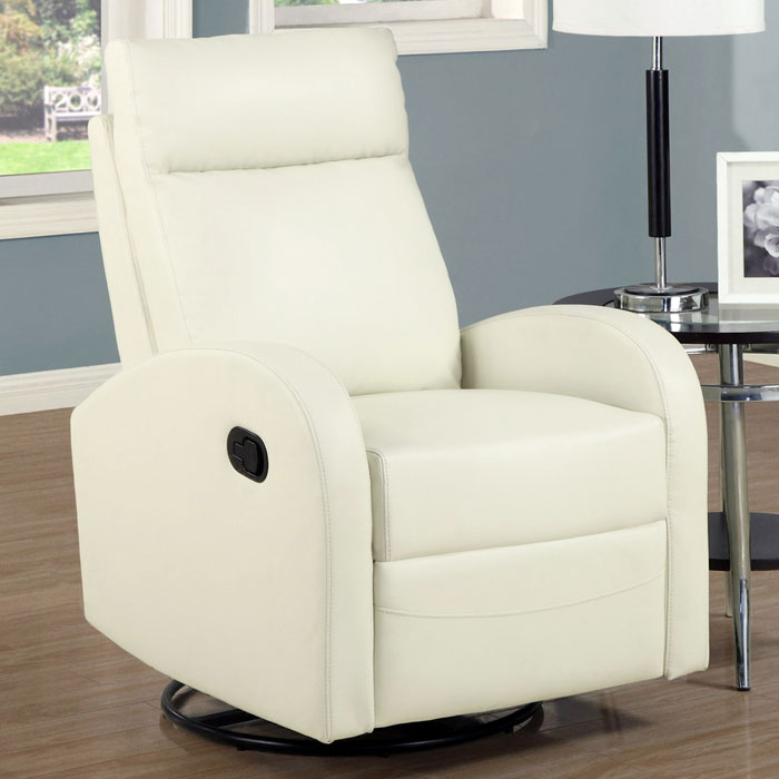 Bernoulli Leather Rocker Recliner - Swivel, Ivory - MNRH-I-8080IV