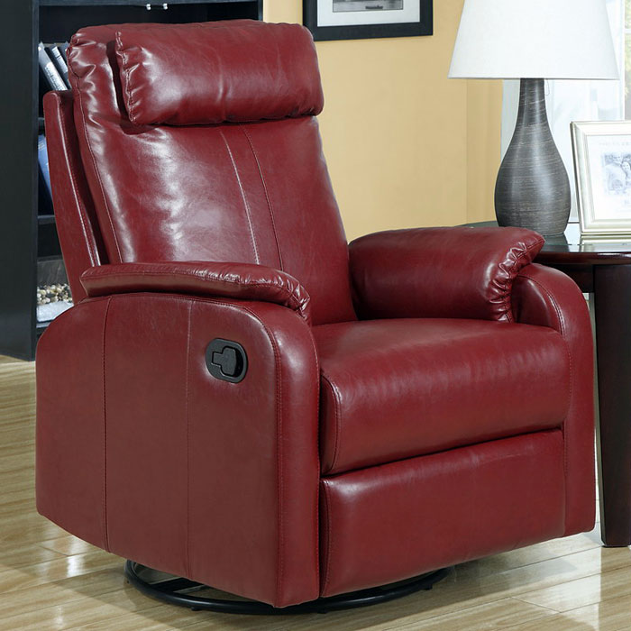Corleone Rocker Recliner - Swivel, Pillow Top Arms, Red