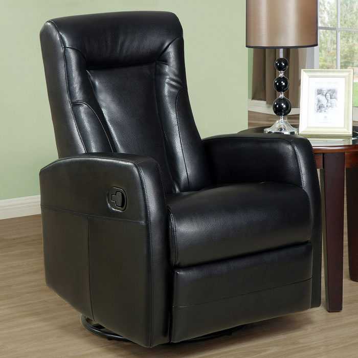 Clemenza Leather Rocker Recliner - Track Arms, Black