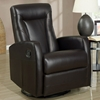 Clemenza Leather Rocker Recliner - Track Arms, Dark Brown