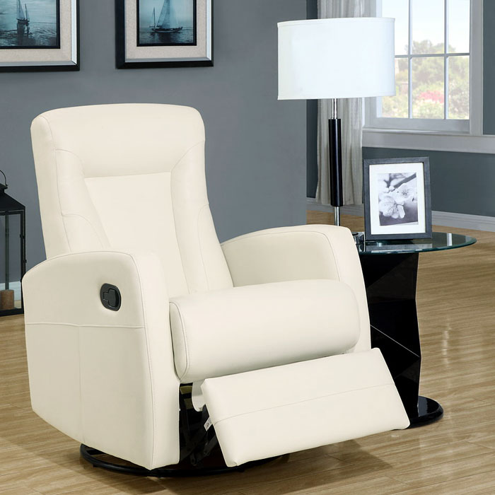 Clemenza Leather Rocker Recliner - Track Arms, Ivory - MNRH-I-8082IV