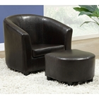 Piccoli Juvenile Club Chair and Ottoman Set - Dark Brown