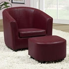 Piccoli Juvenile Club Chair and Ottoman Set - Red