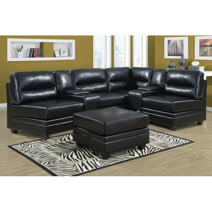 Hedberg Ottoman - Tapered Block Feet, Black Leather - MNRH-I-8300BK
