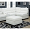 Hedberg Ottoman - Tapered Block Feet, White Leather - MNRH-I-8300WH