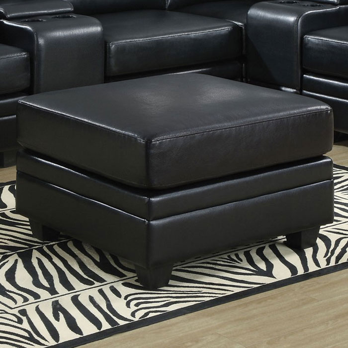 Hedberg Ottoman - Tapered Block Feet, Black Leather