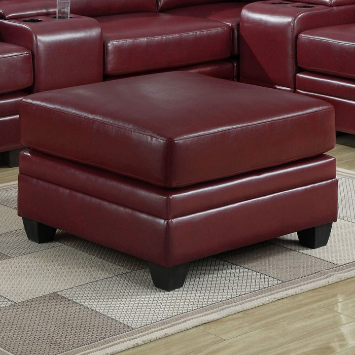 Hedberg Ottoman - Tapered Block Feet, Red Leather