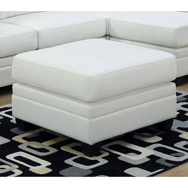 Hedberg Ottoman - Tapered Block Feet, White Leather