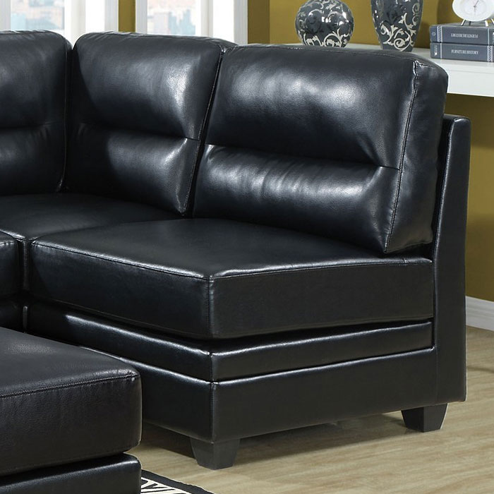 Hedberg Armless Chair - Tapered Block Feet, Black Leather