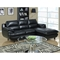 Roussel Leather Sectional Sofa - Pillow Top Arms, Black - MNRH-I-8435BK