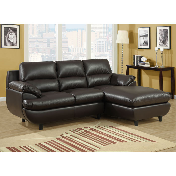 Roussel Sectional Sofa - Pillow Top Arms, Dark Brown Leather