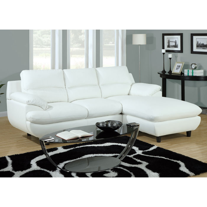 Roussel Leather Sectional Sofa - Pillow Top Arms, White