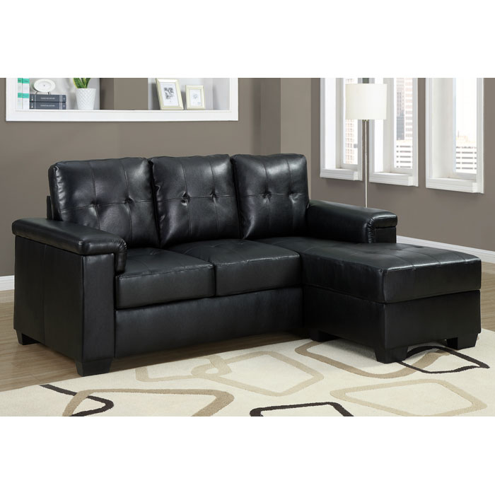 Michaelson Sectional Sofa - Right Facing Chaise, Black Leather
