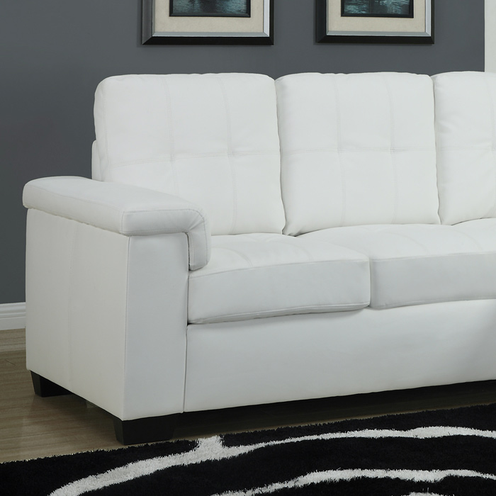 Michaelson Sectional Sofa - Right Facing Chaise, White Leather - MNRH-I-8705WH