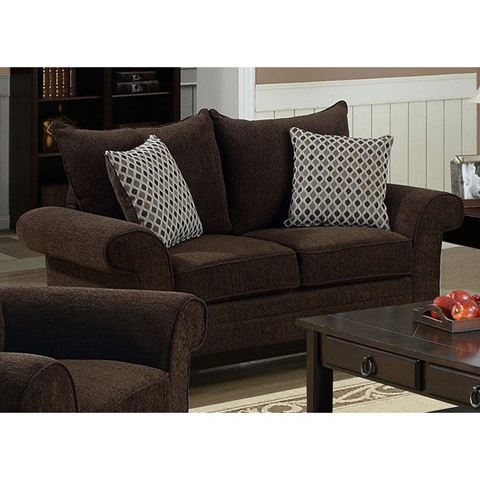Lavanchy Loveseat - Chocolate Chenille, 2 Accent Pillows