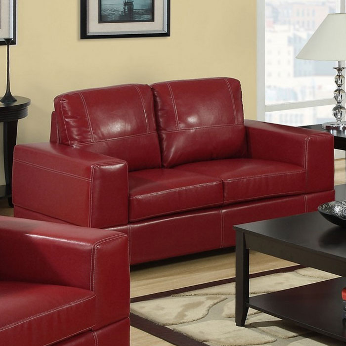 Anatole Loveseat - Contrast Stitching, Red Leather