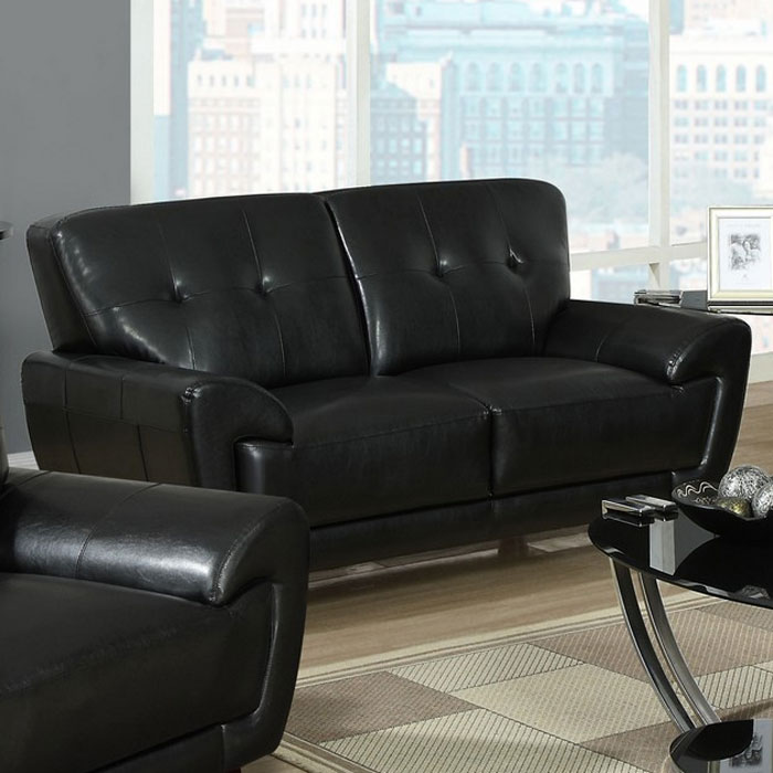 Eugene Leather Loveseat - Flared Arms, Black