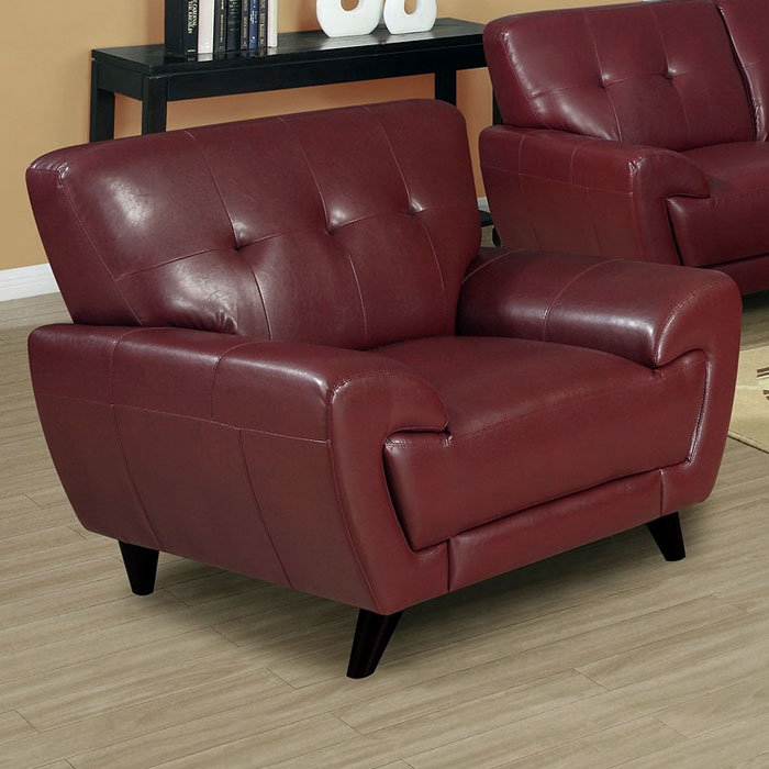 Eugene Armchair - Tufted Backrest, Red Leather