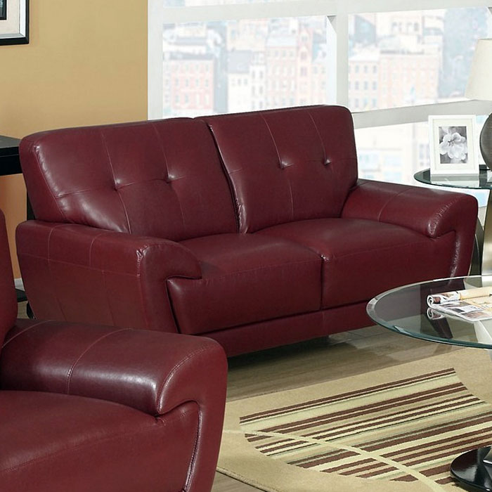 Eugene Leather Loveseat - Flared Arms, Red