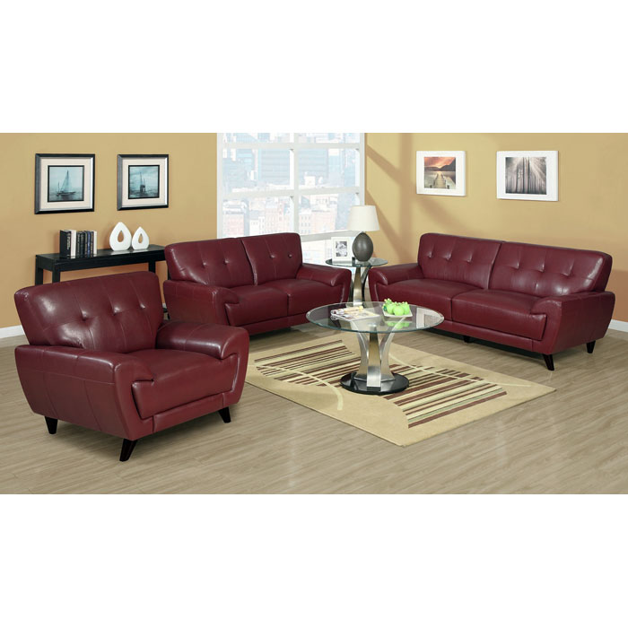Eugene Leather Loveseat - Flared Arms, Red - MNRH-I-8802RD
