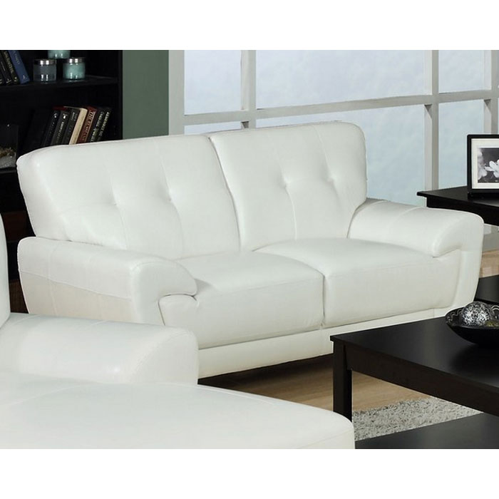 Eugene Leather Loveseat - Flared Arms, White