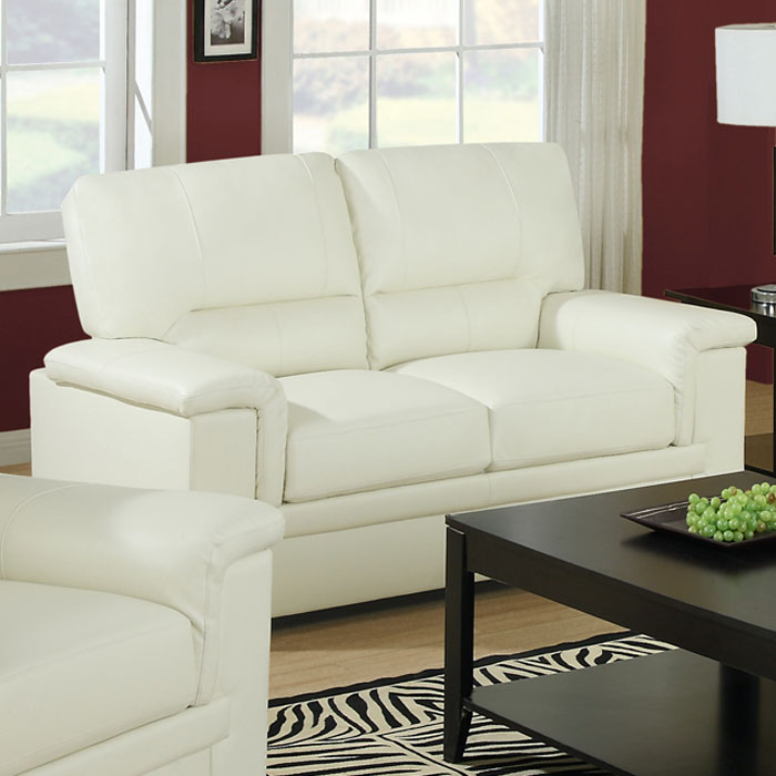 Artaud Leather Loveseat - Pillow Top Arms, Ivory