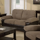 Alistair Storage Loveseat - Brown Microfiber, Pillow Top Armrests