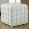Rammstein Cube Ottoman - Square Tufts, White