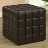 Rammstein Cube Ottoman - Square Tufts, Dark Brown